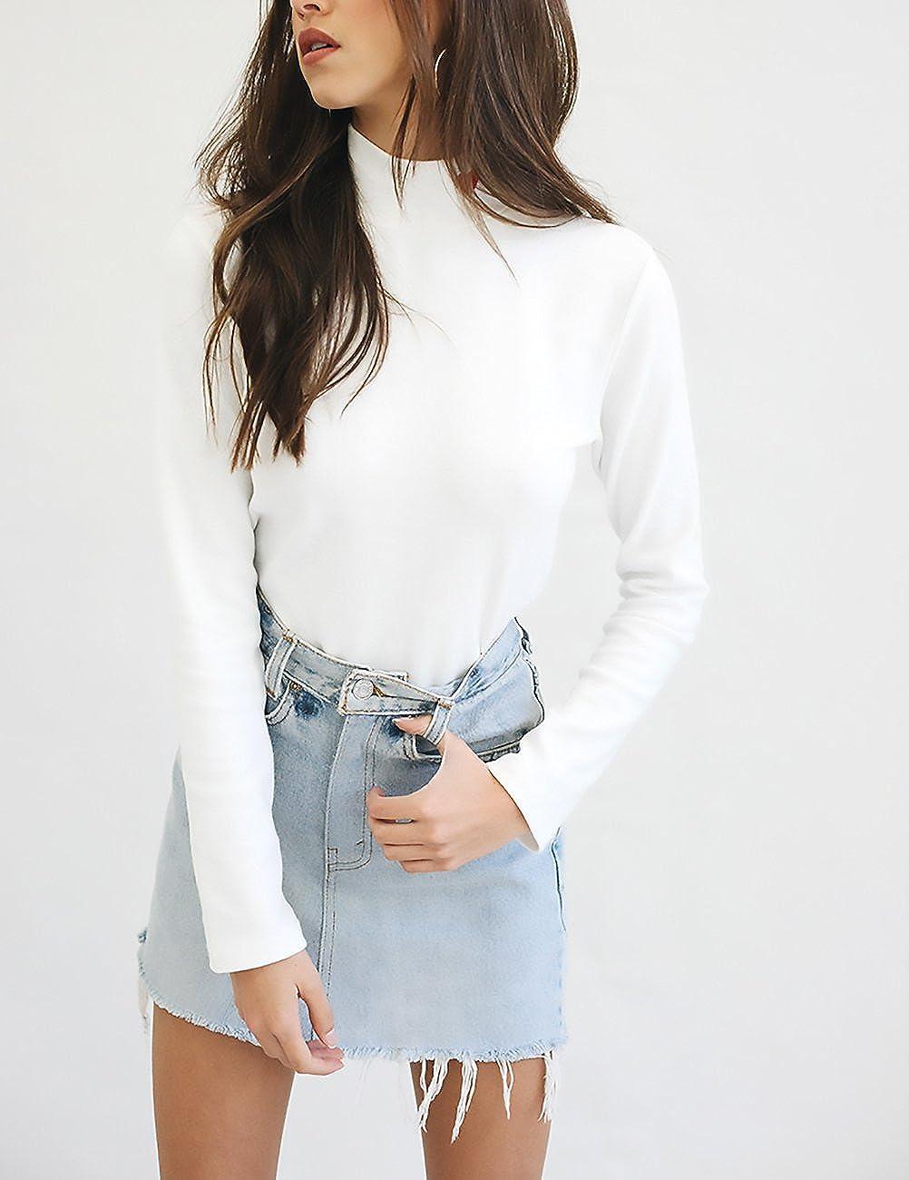 Mujer Camisetas Blancas Manga Larga Camisas Basicas Elegantes Bordado Basic Ropa Cuello Alto Slim Fit T Shirt Tops Invierno Otoño Moda Casual Juveniles ...