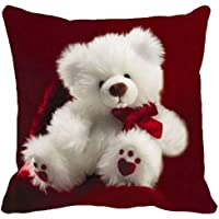 Ultra Angel Teddy Printed Cushion 12x12 Inches Red