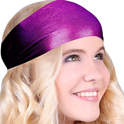 [Best No Slip Sparkle Purple Printed Headband Wicking Work Out Wide Yoga Running Crossfit Sports Comfortable Spandex Perfect Gift Made in] (Black Sparkly Dance Costumes)