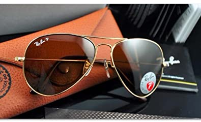 fb6955680ff Image Unavailable. Image not available for. Color  NEW POLARIZED RAY-BAN  AVIATOR SUNGLASSES GOLD w CRYSTAL BROWN RB3025 001 57