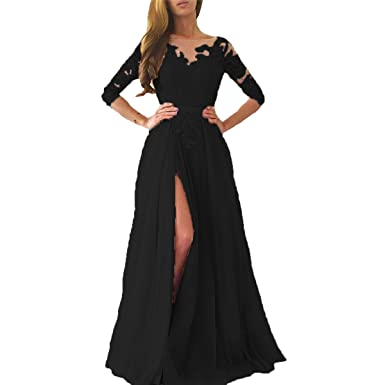 Yuxin Sexy High Split Prom Dresses Lace Tulle Backless 3/4 Long Sleeves A line