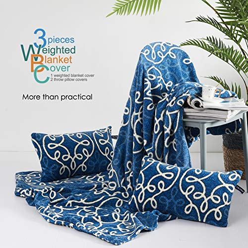cieltown Removable Duvet Cover for Weighted Blanket 60x80 with Zipper and 8 Ties, Thicker Blue, Super Soft Velvet Machine Washable, 2 Throw Pillow Covers Free (European Pattern 3PC, 60