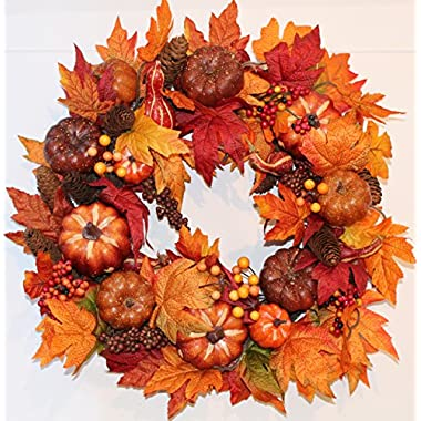 Woodbury Pumpkin Harvest Silk Fall Front Door Wreath - 22 Inches - Handcrafted With Silk Maple Foliage, Berries, And Mini Pumpkins - Display Outdoors For Autumn and Thanksgiving