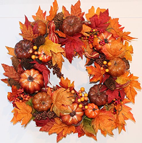 Harvest Silk Fall Front Door Wreath - 22 Inch