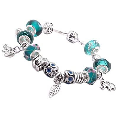 b12b04271 Nambeads.. Pandora style silver plated charm bracelet with African Animal  theme. Turquoise, Green, Blue beads.