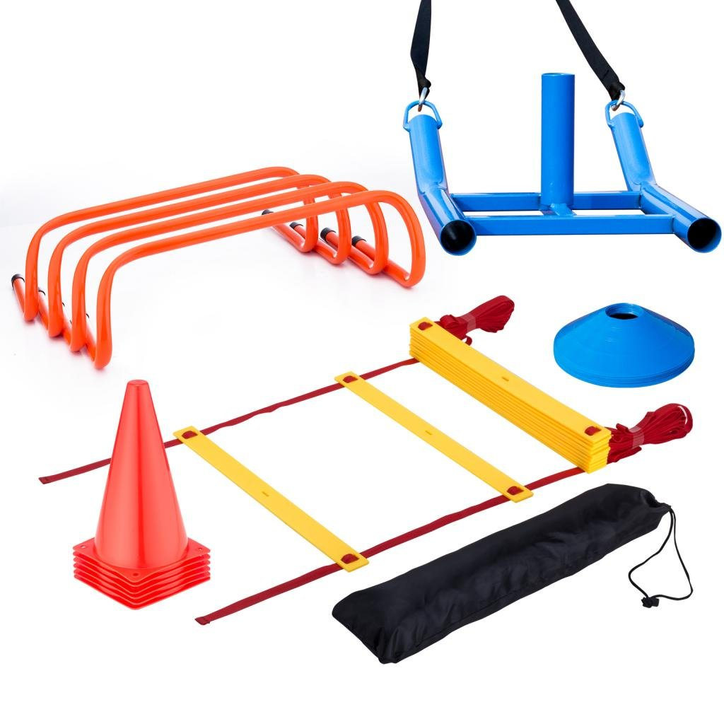 Fitnessclub 2のセット、12 ' x 6 ' FtポータブルサッカーゴールのペアAll Weathers Football NetスポーツCompetition Soccer Goalキット B07CDR3FQCAgility Speed Training Set