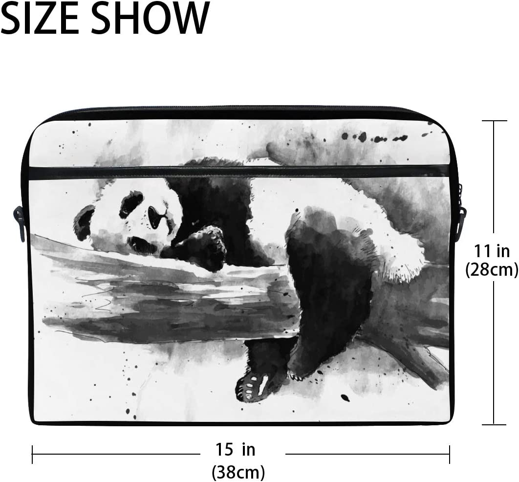 Bennigiry Watercolor Black And White Panda Drawing Laptop Bag Canvas Messenger Shoulder Bag Briefcase Fits 15-15.4 inch