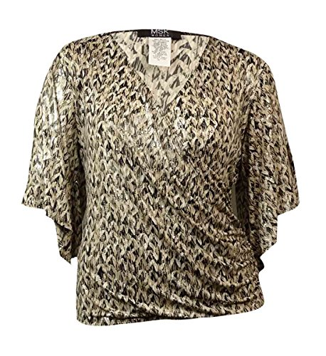 MSK Women's Sequined Printed Surplice Blouse (2X, Black/White) (Surplice Sequined)