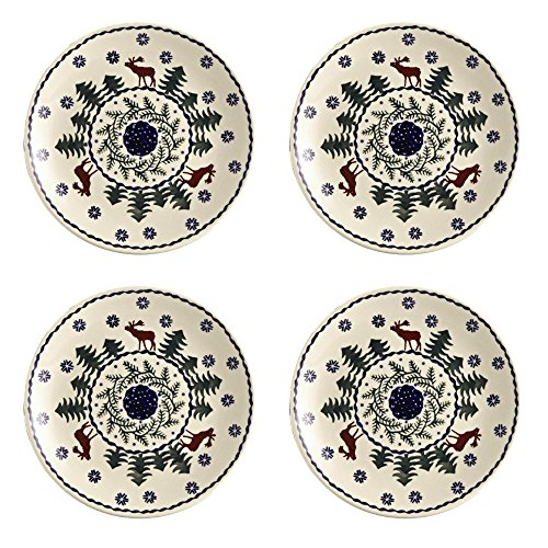 Polish Pottery Christmas Tree Reindeer Moose Pattern Salad Plates, 7-Inch, Set of ()