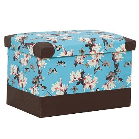 Amazon.com: RKY Leather Cherry Blossoms Storage Stool Shoe ...