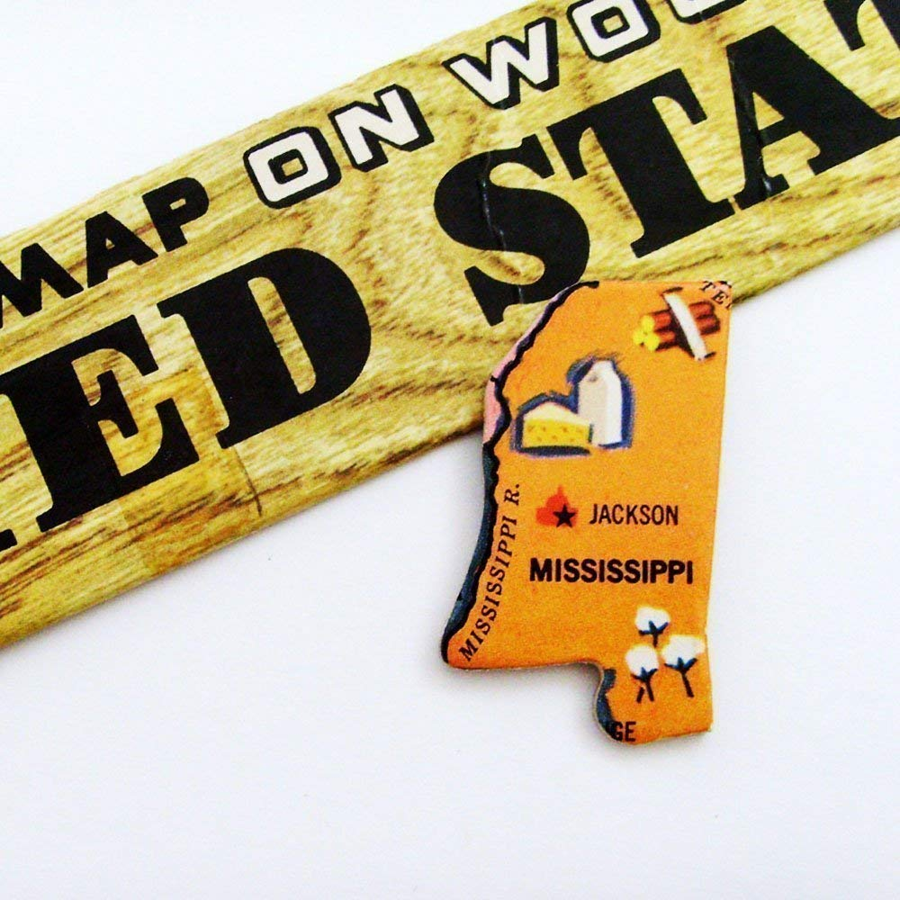 ME2Designs Upcycled Wood Jewelry 1961 Mississippi Wearable History Brooch Pin