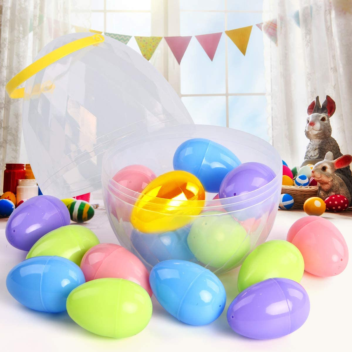 UFUNGA Jumbo Easter Eggs Container with17 PCS 3.14 Plastic Eggs Perfect Fillable Easter Egg Basket for Easter Egg Hunt and Easter Prizes