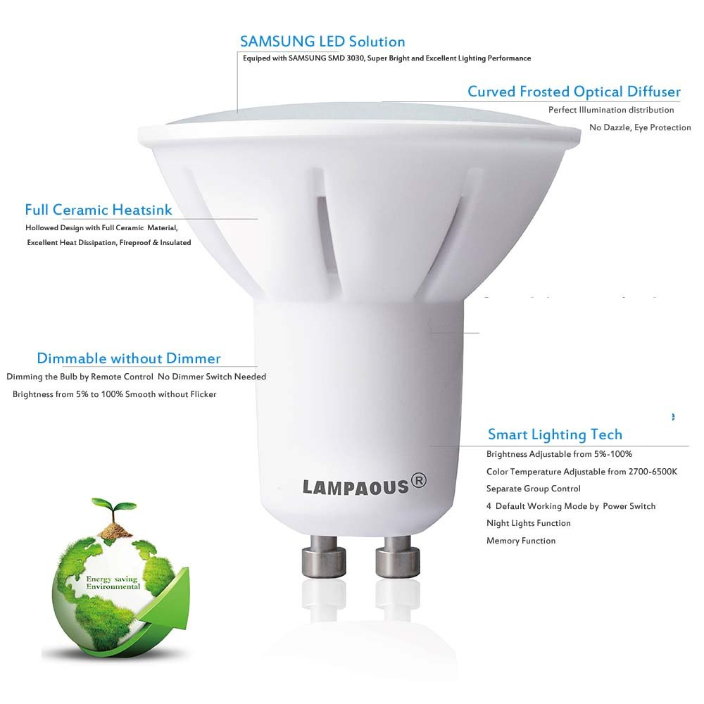 LAMPAOUS GU10 LED Light Bulbs Dimmable Smart Bulb,2700k to 6500k White and Color Ambiance Spotlight,50W Halogen Bulb Equivalent,Work with LAMPAOUS Wireless Remote,No Dimmer Required,10 Bulbs Pack by LAMPAOUS (Image #3)