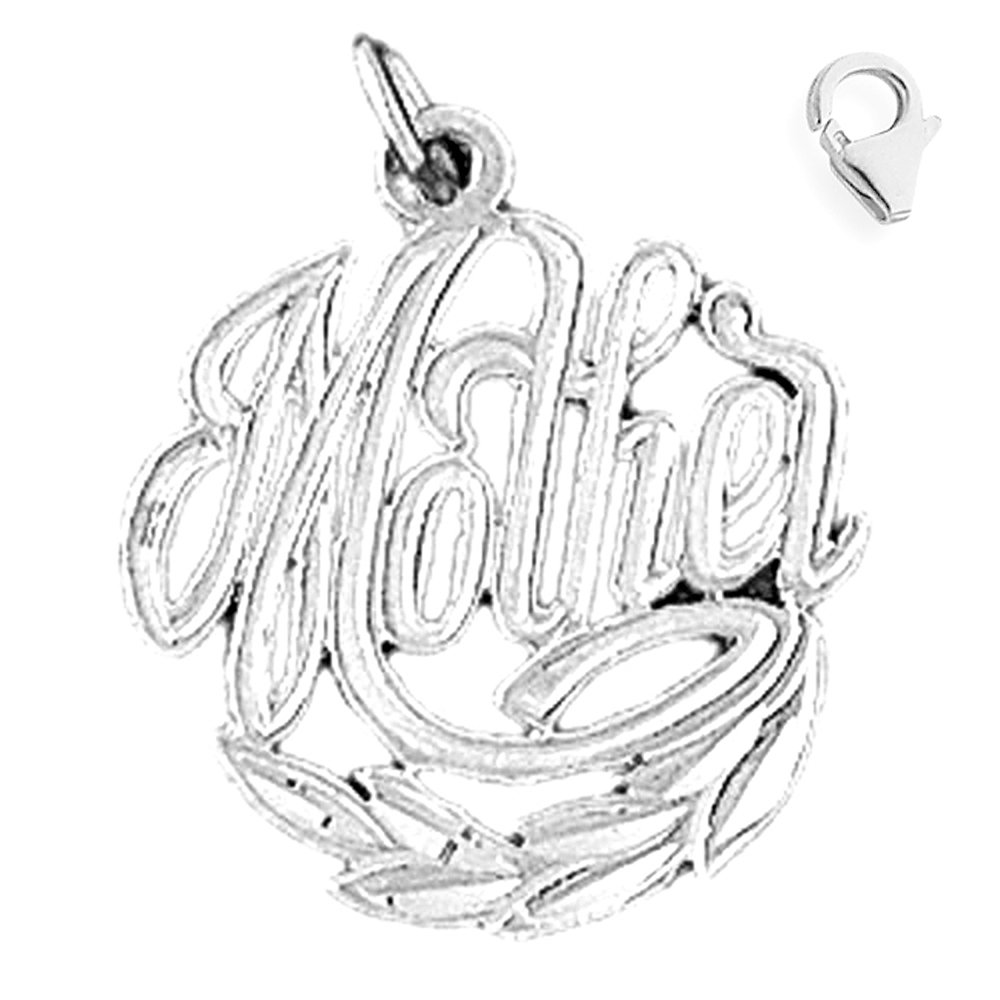 Jewels Obsession Mother Pendant Sterling Silver 23mm Mother with 7.5 Charm Bracelet