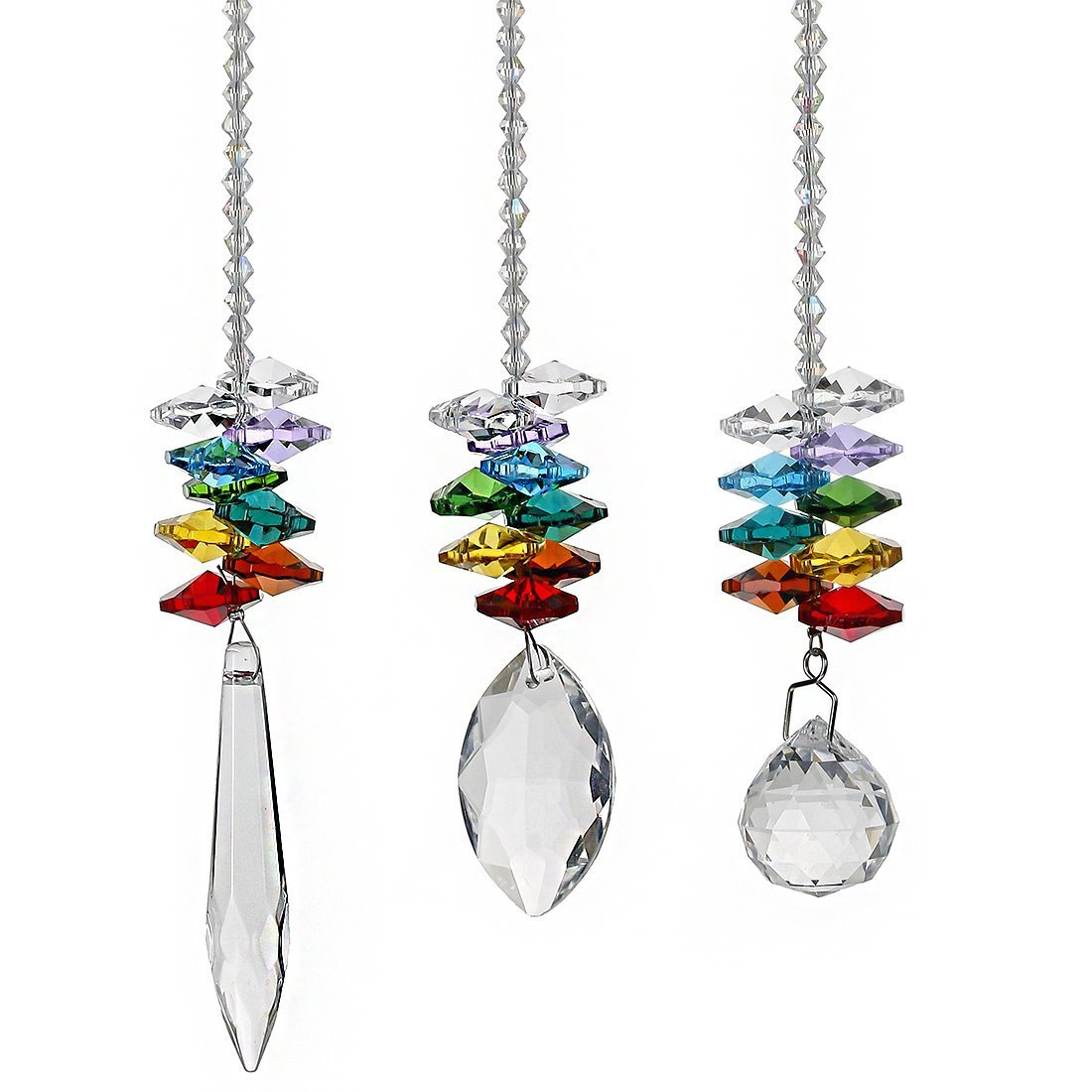 H&D Chandelier Crystals Prisms Rainbow Octogon Chakra Suncatcher, Set of 3 by H&D