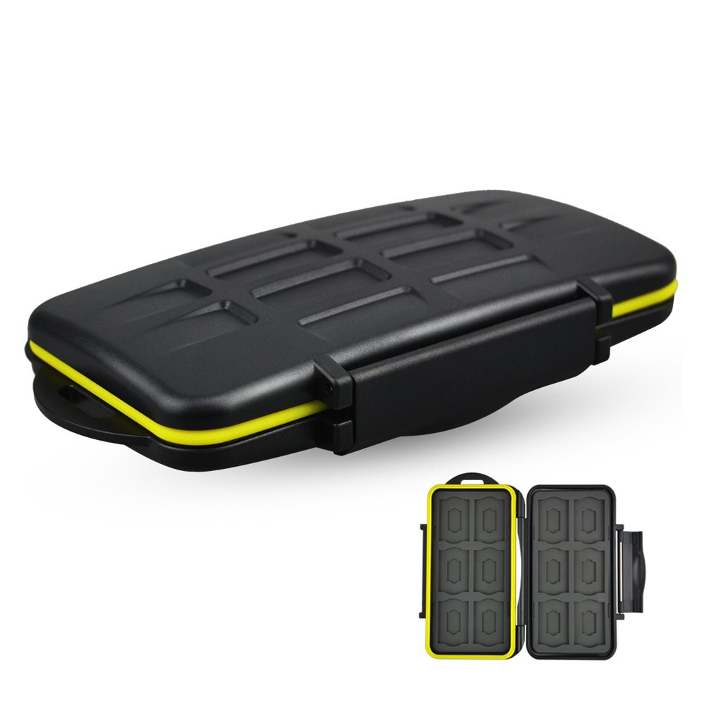 SD MSD Card Case JJC Camera Memory Card Case Holder Organizer Box for 12 SD & 12 MSD Cards Water-Resistant Portable Durable