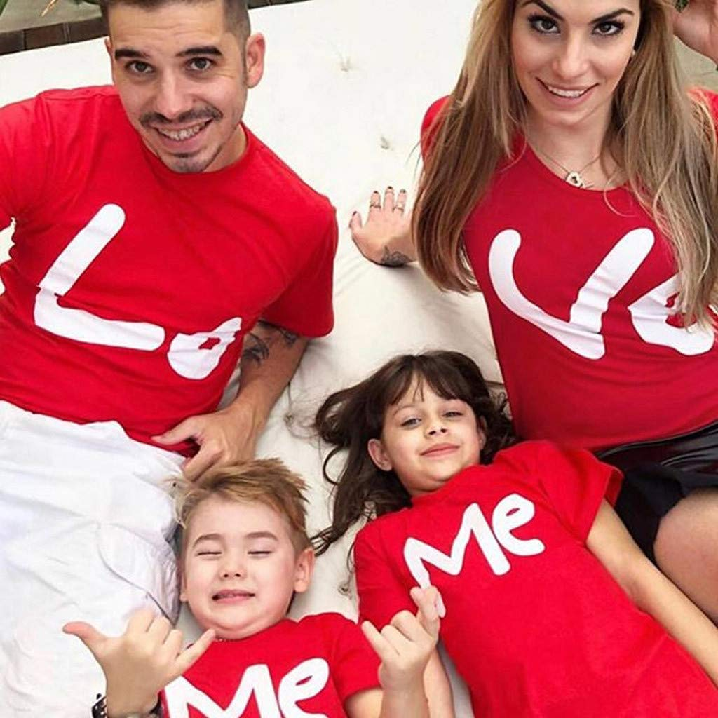 Family Matching T-Shirt Men Women Kids Letter Print Love ME Couple Pullover Blouse Tops Clothes for Birthday Wedding
