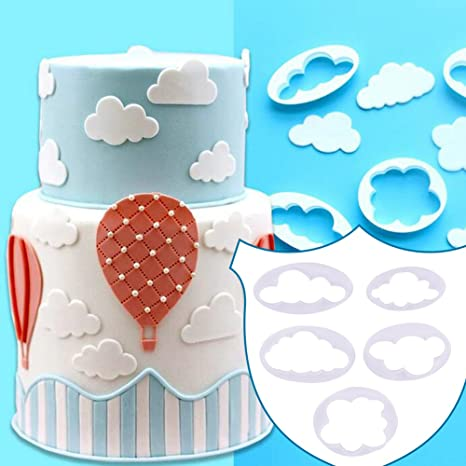 5pcs nube forma fondant impresión molde cortador de pastel decoración molde para cocina hornear