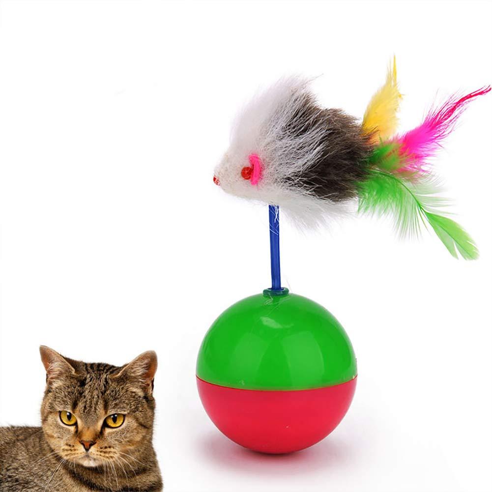 Funny Mini Mouse Tumbler Plastic Ball Pet Kitten Cat Playing Toy Training Gift - Random Color