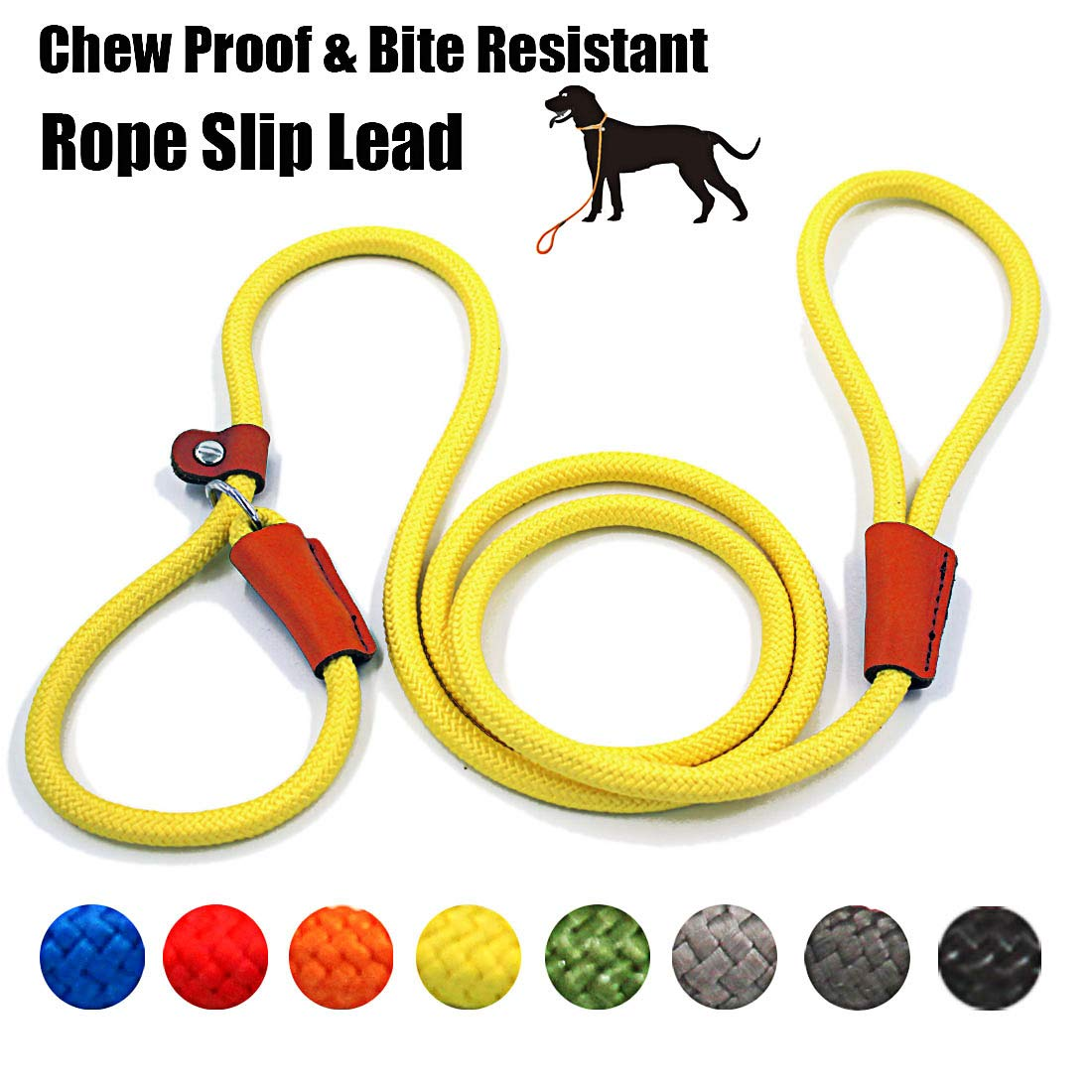 lynxking Braided Rope Dog Leash Strong Heavy Duty Bite Resistant Dog Rope Slip Leads UHMWPE Chew Resistant Training Lead Leashes Medium Large Dogs (3/8'' x5', Yellow)