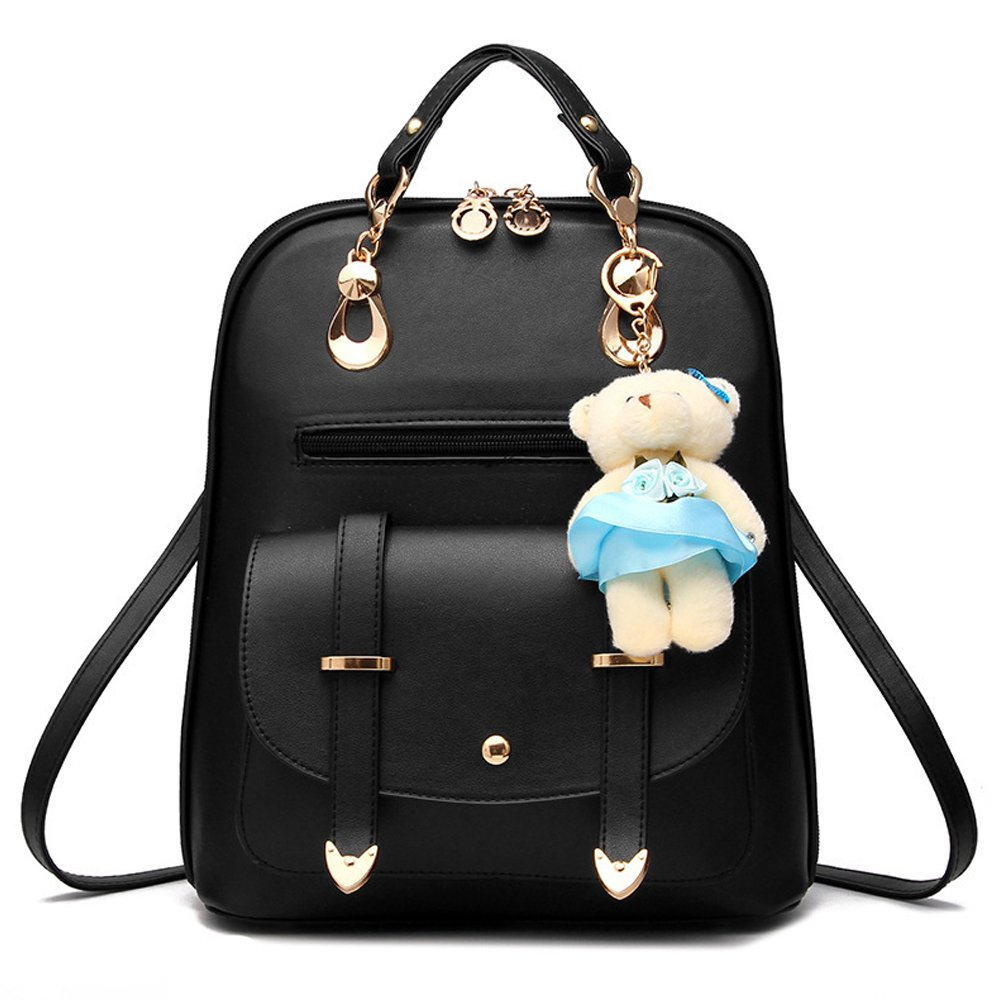OASD Women's Backpack Leather Multi Way Girls School Cartoon Pendant, Black
