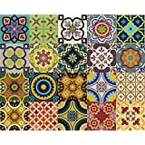 Backsplash Tile Stickers 24 PC Set Traditional Talavera Tiles Stickers Bathroom & Kitchen Tile Decals Easy to Apply Just Peel and Stick Home Decor 4x4 Inch (Backslash Peel and Stick C)