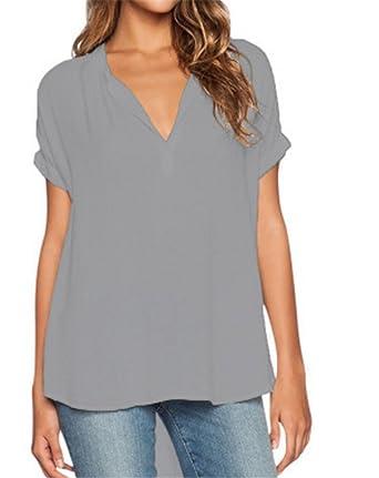 ef90b40963f7 SHUNLIU Damen Chiffon-Bluse mit V-Ausschnitt Kurzarm-Spitze Hemden ...