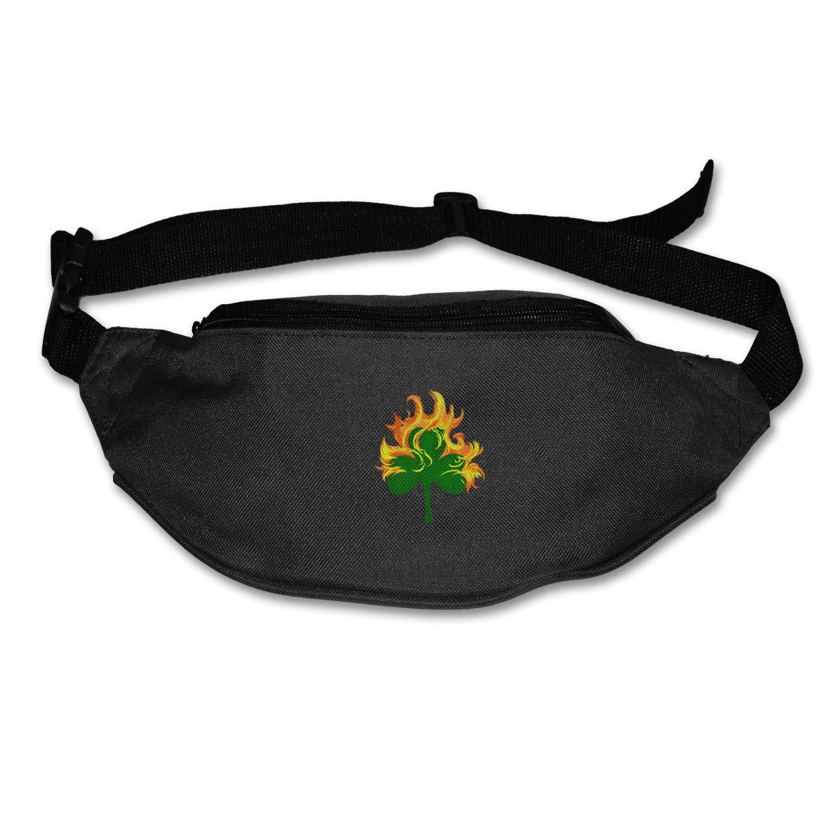 Irish Clover Burning Sport Waist Packs Fanny Pack Adjustable For Hike