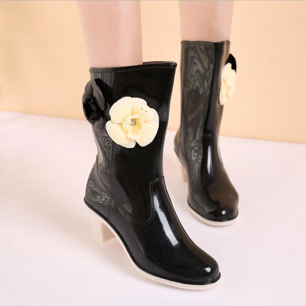 SIHUINIANHUA Lady Tube Regen Stiefel Stiefel Stiefel Kamelie Hochhackigen Regen Stiefel Rutschfeste Wasser Stiefel Schuhe Wasser Kleber Schuhe schwarz 36 15f38f