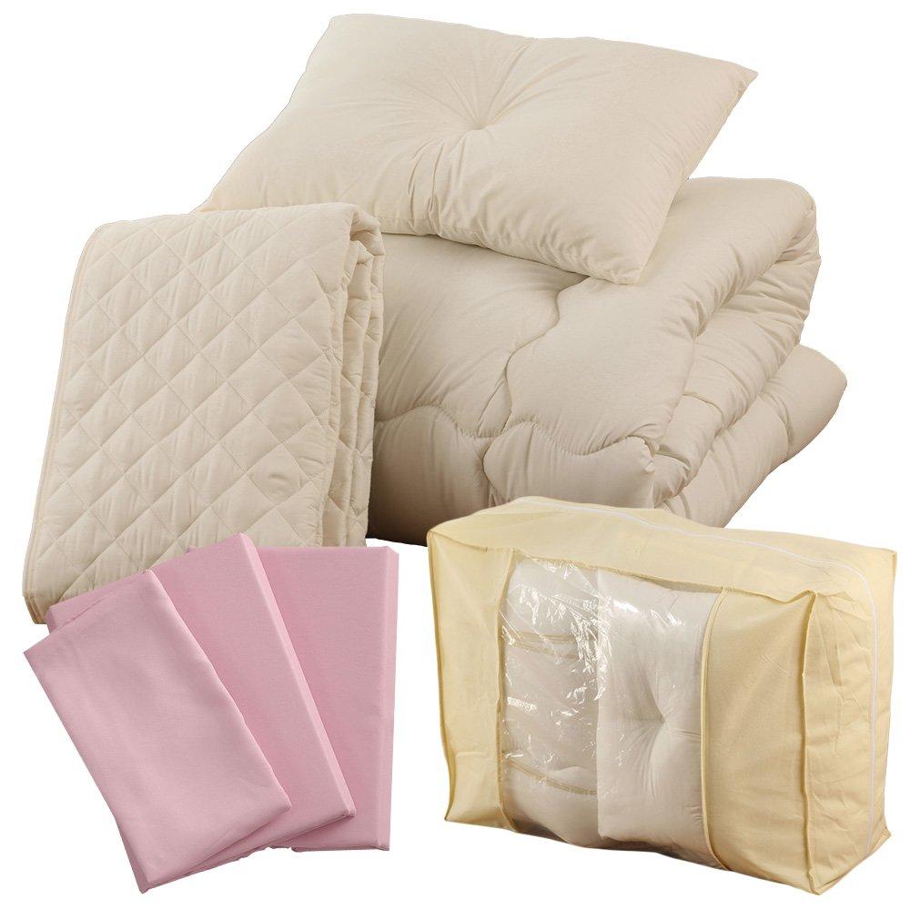 すぐに使える 高品質 ベッド用7点セット セミダブル ムジ柄 ベビーピンク A092-SD014SDB045PK B01MDTO34M セミダブル|ムジ柄ベビーピンク ムジ柄ベビーピンク セミダブル