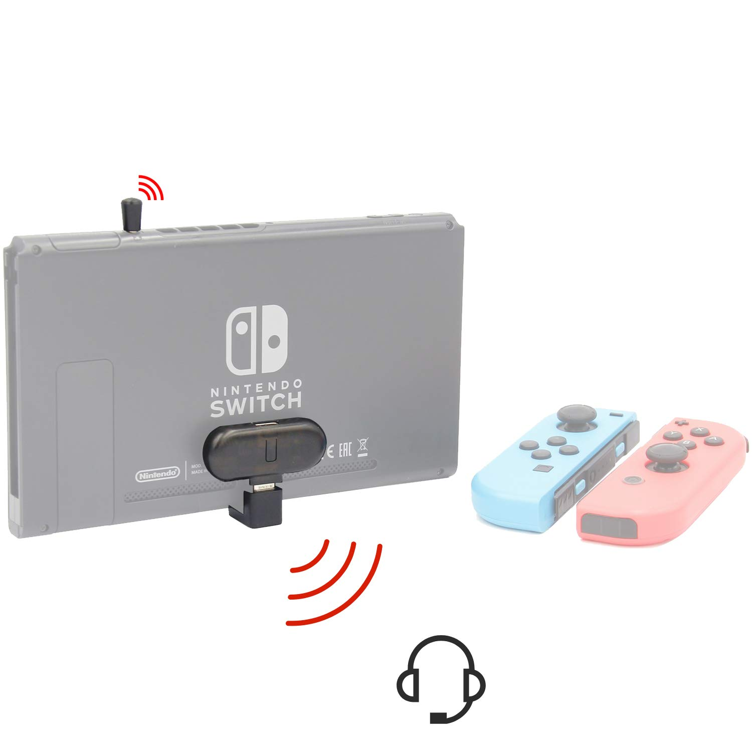 GuliKit Route+ PRO Bluetooth Audio Adapter for Nintendo Switch, USB C Wireless Bluetooth Audio Transmitter, aptX Low Latency, Support in-Game Voice Chat by GULIkit
