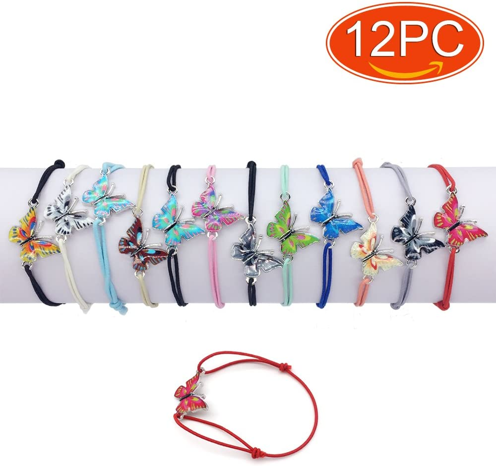 Elesa Miracle 12pc Women Girl Butterfly Value Kids Party Favor Adjustable Bracelet, Set 01
