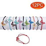 Elesa Miracle 12pc Women Girl Butterfly Bracelet Value Set Kids Party Favor Adjustable Bracelet