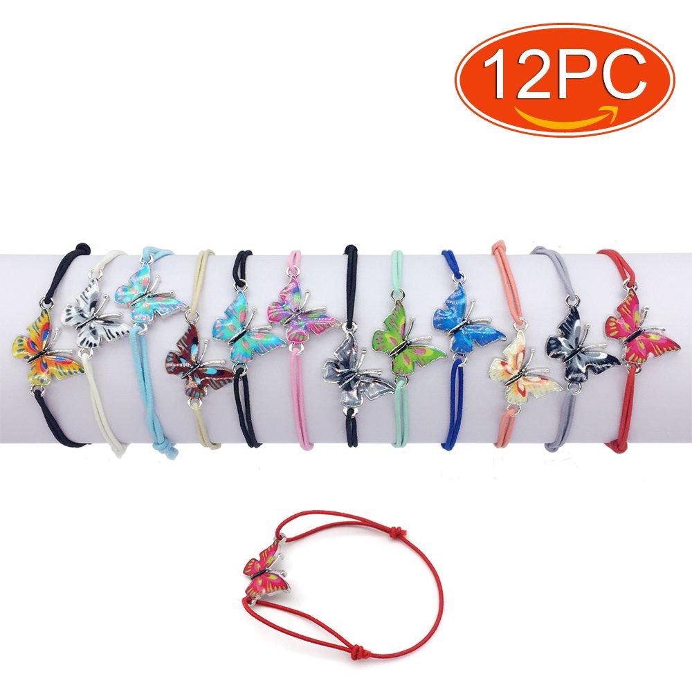 Elesa Miracle 12pc Women Girl Butterfly Value Set Kids Party Favor Adjustable Bracelet, 01