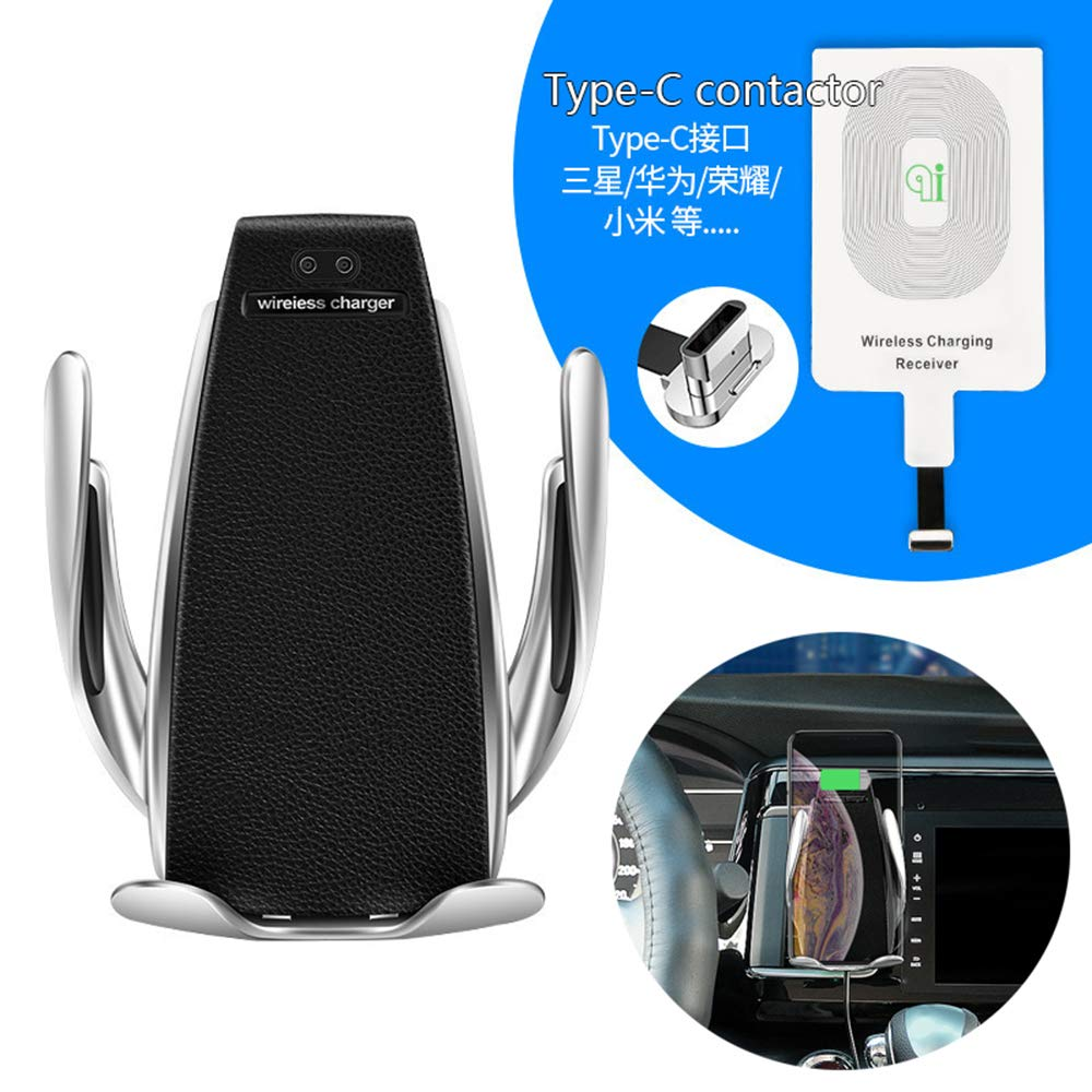 Wireless Charger Car Mount Adjustable, Infrared Motion Sensor Automatic Open for iPhone Samsung and Android Smartphones Qi Certified (Automatic Clamping + Type-C contactor) Maca.lina