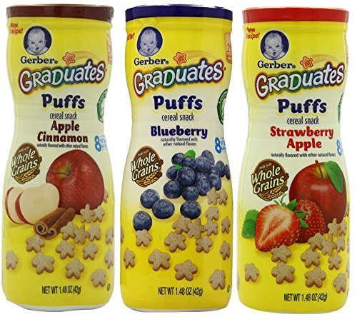 Gerber Graduates Puffs Cereal Snack Variety Pack - Blueberry, Strawberry-Apple, Apple Cinnamon by Gerber