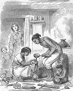 India: Indian cook House-coladora café, diseño de madera envejecida, 1858