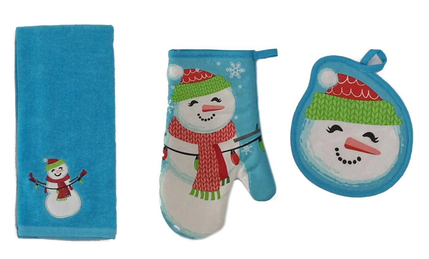 Christmas Holiday Snowman Kitchen Set Potholder, Oven Mitt, and Towel