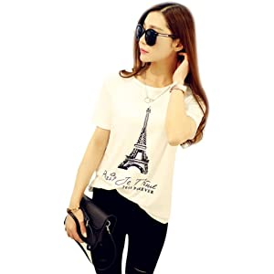 DondPO Fashion Cute Tower Printing Round Neck Short Sleeve Summer T-Shirts Casual Crewneck Loose