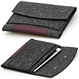ACECOAT Deluxe Felt Carrying Protective Button Tablet Sleeve Case Pouch Cover Bag For iPad Air / Air 2 / iPad 1 / 2 / 3 / 4 and 9 - 9.7 inch Tablet Computers( Acer / Dell / HP / Lenovo / Panasonic / Samsung / Toshiba etc.) , Slim Lightweight Soft Unique Design with Dual Layers ( 9.7 inch, Dark Gray)
