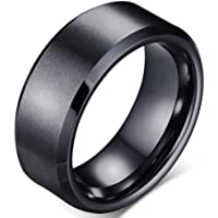 Jude Jewelers 8mm Brushed Matte Black Titanium Stainless Steel Classical Simple Plain Ring Wedding Band