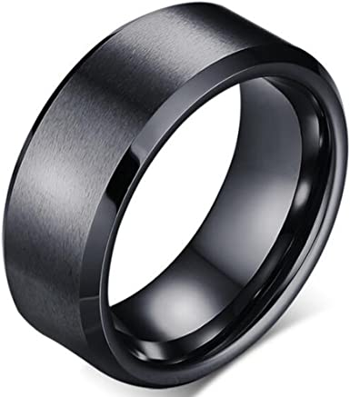 Simple black plain stainless steel ring size 8