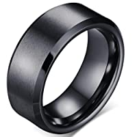 8mm Brushed Matte Black Titanium Stainless Steel Classical Simple Plain Ring Wedding Band