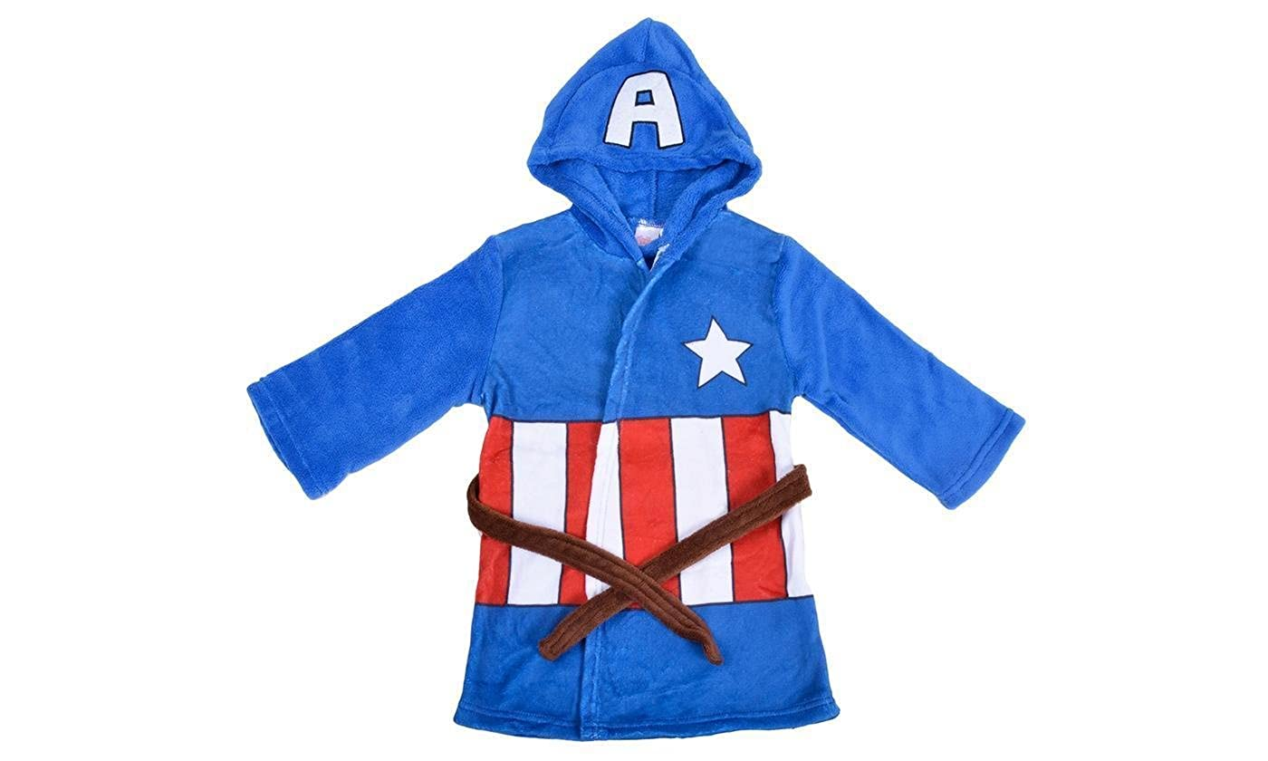 93d29435f6 Hero Kids Fleece Hooded Captain America Bathroom Dressing Gown - Soft  Bathrobe for Ages 4-5 Years  Amazon.co.uk  Clothing