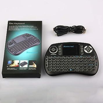 iPazzPort Mini Teclado inalámbrico Bluetooth con Panel táctil, Teclado retroiluminado RGB y Control Remoto Universal de TV para Android TV Box, Nvidia Shield TV, Raspberry Pi, Apple TV KP-810-61BT: Amazon.es: Electrónica