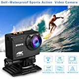 Sports Action Camera 4K Wifi,Waterproof Digital Sports Video Recorder Camera with 150°Wide Angle And Mounting Accessories Kit