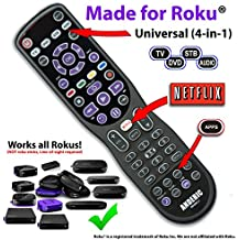 """Made for Roku"" Anderic 4-Device Universal Remote Control for ALL TVs / Roku TVs / HDTVs / Smart (& Dumb) TVs / Blu-Ray Players / Audio / Sound Bars / Roku Universal Remote - RRUR01.2"