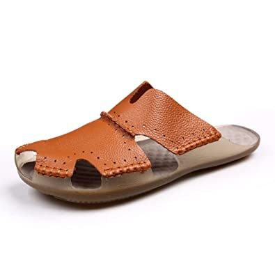 1f5322ed29f088 Image Unavailable. Image not available for. Color  AIRIKE Men Casual Leather  Beach Sandals Flat Slip-ONS Slippers ...