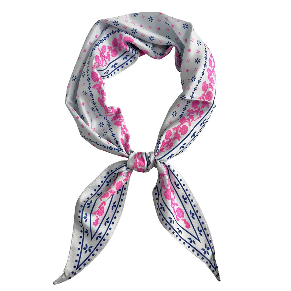 GERINLY Vintage Skinny Neck Scarves Floral Print Long Hairband Stylish Accessory (Light Grey)