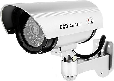 Opinión sobre Tech Traders - Cámara de Seguridad de CCTV Falsa para Interiores y Exteriores, con luz Intermitente, Color Plateado